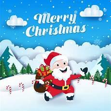 cute merry christmas paper art card illustration vector premium download