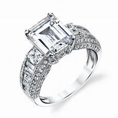 sterling silver engagement wedding ring emerald cut modern contemporary cz ebay