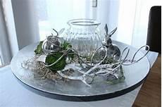 Td93 Exclusive Tischdeko Silberfarbene Schale