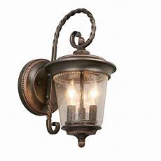 hton bay 3 light rubbed bronze large outdoor wall lantern gtp1613al the home depot