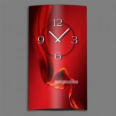abstrakt seide rot hochkant designer wanduhr modernes