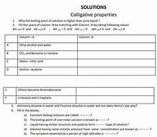 cbse class 12 chemistry solutions colligative properties practice worksheet for chemistry