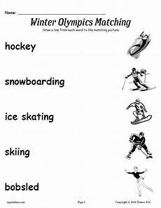 winter sports worksheets 15893 free printable winter olympics matching worksheet supplyme
