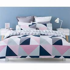 Doona Cover by Navy Pink Grey White Geometric King Bed Quilt Doona Cover