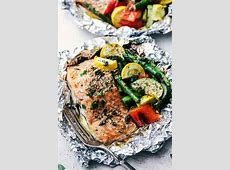 charcoal grilled salmon in foil