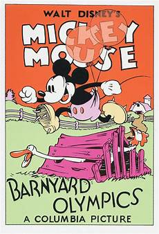 barnyard olympics 1932 mickey mouse disney cartoon poster print ebay