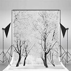 5x7ft Tree Snow Lights Flags by 5x7ft White Accumulated Snow Covered Tree Photography Bac