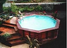piscine bois octogonale semi enterrée photos de piscine construction service bretagne