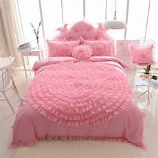 korean princess style lace flower fold lace design duvet cover bed sheet 100 cotton pink