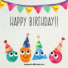 Aquarell Malvorlagen Happy Birthday Happy Birthday Card In Aquarell Stil Premium Vektor