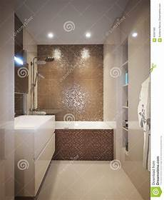 modern bathroom interior with brown and beige tiles stock