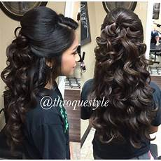 Half Updo Wavy Curls Quinceanera Hairstyles Quince