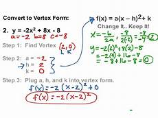 quadratics vertex form math algebra quadratic equations algebra 2 showme