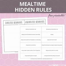 mealtime hidden rules social skills printable and next