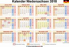 Neuer Feiertag Niedersachsen 2018 - kalender 2018 niedersachsen ferien feiertage pdf vorlagen
