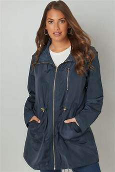navy minimalist parka jacket with high zip up neck plus size 16 to 36