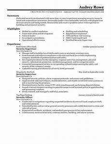 resume security guard resume exles fresh supervisor