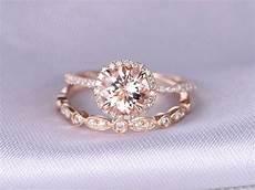 morganite engagement ring wedding ring 14k rose gold art deco diamond matching band 7mm