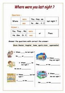 english worksheet where were you last night