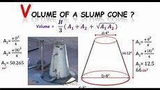 quantity survey how to find volume of a slump cone