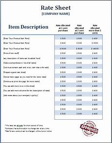 rate sheets templates ms word formal rate sheet template word excel templates