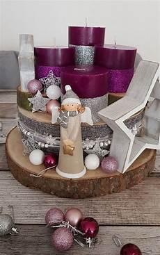 unser adventsgesteck aus baumscheiben weihnachten
