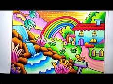 Mewarnai Gradasi Dengan Crayon Pemandangan Alam Rumah