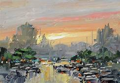 TOM BROWN FINE ART CARS URBAN IMPRESSIONIST CITY SCAPE