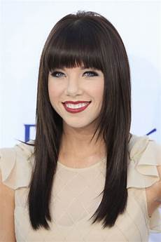 straight hair with blunt bangs hairstyles