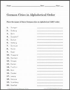 german worksheets for class 7 19578 german cities in abc order worksheet student handouts