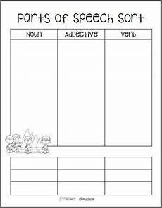 free printable parts of speech word sort templates 2nd grade ideas word sorts parts of