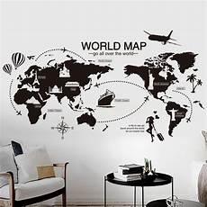 Black World Map Wall Sticker Bedroom Office Artistic