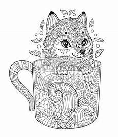 Ausmalbilder Tiere Muster Fuchs In Der Tasse Antistress Malvorlage Mit Tier