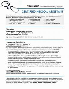 sle of a medical assistant resume sle resumes