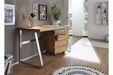Bureau Design Avec Caisson Sur Roulettes Bois Massif