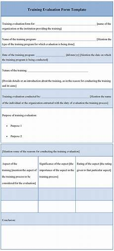 evaluation form template for training exle of training