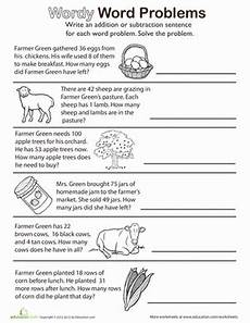 wordy word problems add or subtract worksheet