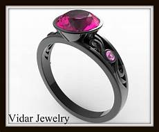 black gold engagement ring with pink stone vidar jewelry unique custom engagement and