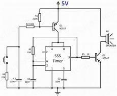 wailing siren using 555 timer hobby project circuit diagram