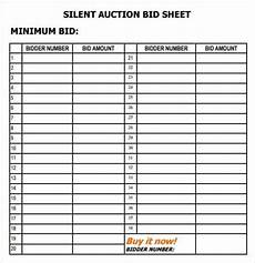 6 silent auction bid sheet templates free sle templates