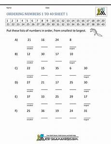 basic math worksheets ordering numbers to 100