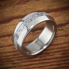 meteorite titanium men s wedding band polished