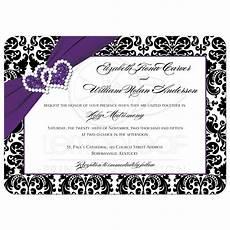 damask wedding invitations black and wedding invitation purple black white damask joined