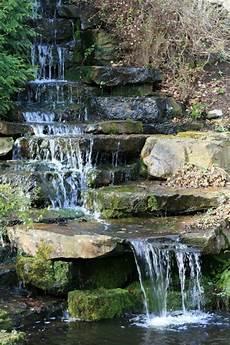 Kleiner Wasserfall Im Botanischen Garten Foto Bild
