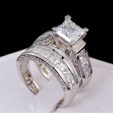 4 35ct princess cut aaa cz sterling silver wedding ring set women s size 6 ebay