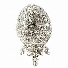faberge style egg wedding jewelry ring holder box rhodium silver plated made with