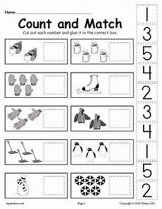 printable winter counting and matching cut and paste
