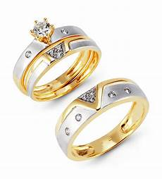 two tone 14k gold cz cluster solitaire wedding ring