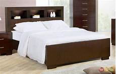 king contemporary bed storage headboard w lights cappuccino finish
