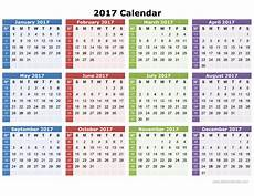 2017 Calendar Printable One Page Image